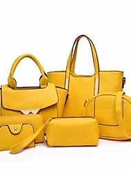 baratos -Mulheres Bolsas PU Conjuntos de saco 6 Pcs Purse Set Côr Sólida Roxo / Amarelo / Fúcsia