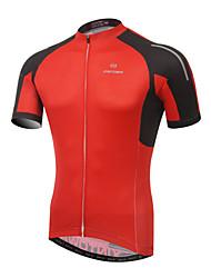 baratos -XINTOWN Homens Manga Curta Camisa para Ciclismo - Vermelho / Verde Moto Camisa / Roupas Para Esporte, Respirável, Secagem Rápida, Resistente Raios Ultravioleta Retalhos / Com Stretch