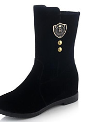 billiga -Dam Fashion Boots Mocka Vinter Stövlar Låg klack Stängd tå Korta stövlar / ankelstövlar Svart / Röd
