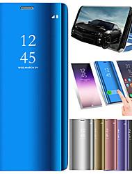 Недорогие -Кейс для Назначение Xiaomi Xiaomi Pocophone F1 / Xiaomi Mi Max 3 со стендом / Зеркальная поверхность / Флип Чехол Однотонный Твердый Кожа PU для Xiaomi Pocophone F1 / Xiaomi Mi Max 3 / Xiaomi Mi 8