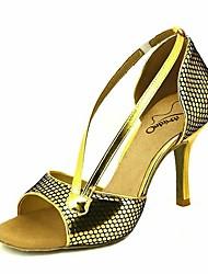 Недорогие -Жен. Обувь для латины Полиуретан На каблуках Тонкий высокий каблук Танцевальная обувь Лиловый / Темно-красный / Синий / Выступление / Кожа / Тренировочные