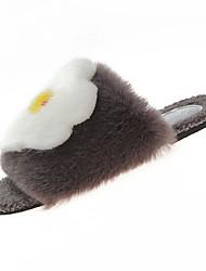 baratos -Mulheres Sapatos Confortáveis Couro Ecológico Inverno Doce Chinelos e flip-flops Sem Salto Flor de Cetim Cinzento