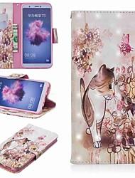 Недорогие -Кейс для Назначение Huawei P20 lite / Huawei P Smart Plus Кошелек / Бумажник для карт / со стендом Чехол Кот Твердый Кожа PU для Huawei P20 / Huawei P20 Pro / Huawei P20 lite