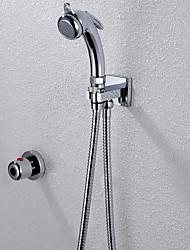 Недорогие -Биде кран Современный На стену Термостатический Одной ручкой Два отверстия, Bath Taps, Медный клапан Хром / Полированное
