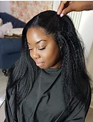 Недорогие -человеческие волосы Remy Полностью ленточные Парик Бразильские волосы Прямой Парик Боковая часть 130% Плотность волос с детскими волосами Модный дизайн Для вечеринок Женский Натуральный Нейтральный