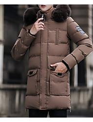 billige -mænds parka - solid farvet hættetrøje