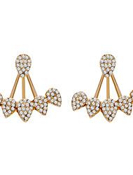 ieftine -Pentru femei Zirconiu Cubic Dublu Stratificat Cercei Față & Spate - Argilă, Placat Auriu, Diamante Artificiale Stilat, European Auriu / Argintiu Pentru Stradă