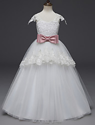 cheap -Princess Long Length Flower Girl Dress - Lace / Tulle Cap Sleeve Scoop Neck with Appliques / Belt by LAN TING Express