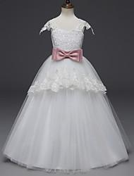 baratos -Princesa Comprimento Longo Vestido para Meninas das Flores - Renda / Tule Alças Scoop pescoço com Apliques / Cinto de LAN TING Express