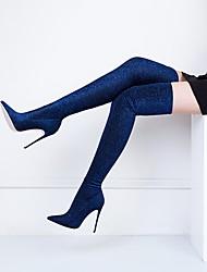 Недорогие -Жен. Fashion Boots Эластичная ткань Наступила зима Классика Ботинки На шпильке Заостренный носок Бедро высокие сапоги Пайетки Зеленый / Винный / Тёмно-синий / Свадьба / Для вечеринки / ужина