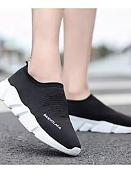 Недорогие -Жен. Комфортная обувь Эластичная ткань Весна & осень Мокасины и Свитер На плоской подошве Черный / Черно-белый