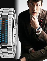 Недорогие -Муж. Спортивные часы электронные часы Японский Цифровой Нержавеющая сталь Черный / Серебристый металл 30 m Защита от влаги Календарь Секундомер Цифровой Кольцеобразный Мода - Черный Серебряный