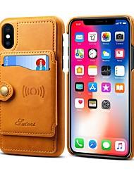 Недорогие -Кейс для Назначение Apple iPhone XR / iPhone XS Max Кошелек / Бумажник для карт / Защита от удара Кейс на заднюю панель Однотонный Твердый Кожа PU для iPhone XS / iPhone XR / iPhone XS Max