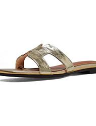 Недорогие -Жен. Комфортная обувь Наппа Leather Лето Сандалии На плоской подошве Золотой / Черный / Серебряный