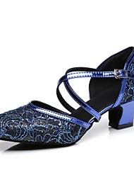 baratos -Mulheres Sapatos de Dança Moderna Sintéticos Salto Presilha / Renda Salto Grosso Sapatos de Dança Vermelho / Azul