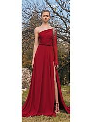 billige -A-linje Etskuldret Børsteslæb Chiffon Kjole med Perlearbejde / Opdelt front ved TS Couture®