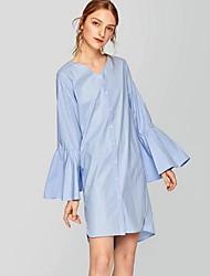 Недорогие -Жен. Классический Вспышка рукава Рубашка Платье - Однотонный Ассиметричное