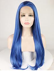 voordelige -Pruik Lace Front Synthetisch Haar Recht / Natuurlijk recht Blauw Gratis deel Blauw 180% Human Hair Density Synthetisch haar 16-26 inch(es) Dames Zacht / Glad / Verstelbaar Blauw Pruik Lang Kanten