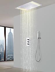 Недорогие -Смеситель для душа - Современный Хром Душевая система Керамический клапан Bath Shower Mixer Taps / Латунь / Три ручки Три отверстия