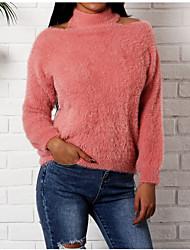 Недорогие -Жен. Повседневные Однотонный Длинный рукав Обычный Пуловер, Хальтер Кроличий мех / Хлопок Белый / Черный / Розовый Один размер
