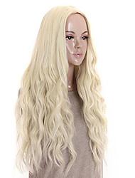 Недорогие -Парики из искусственных волос Кудрявый / Свободные волны Блондинка Стрижка боб / Средняя часть Платиновый блондин Искусственные волосы 26 дюймовый Жен. Для вечеринок / Классический / синтетический