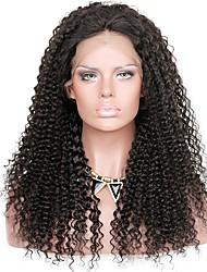 Недорогие -человеческие волосы Remy 360 Лобовой Парик Глубокое разделение стиль Бразильские волосы Kinky Curly Черный Парик 150% Плотность волос Горячая распродажа Толстые Черный Жен. Длинные