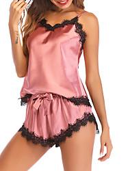 Недорогие -Жен. Глубокий V-образный вырез Бюстгальтер без косточек Пижамы Однотонный / Контрастных цветов