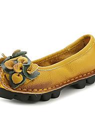 Недорогие -Жен. Кожаные ботинки Наппа Leather Весна & осень На каждый день / Минимализм На плокой подошве На плоской подошве Желтый / Винный