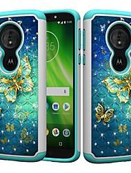 Недорогие -Кейс для Назначение Motorola MOTO G6 / Moto G6 Play / Moto E5 Play Защита от удара / Стразы / С узором Кейс на заднюю панель Бабочка / Стразы Твердый ПК