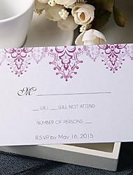 baratos -Cartão Raso Convites de casamento 20 - Cartões de resposta Estilo Floral Papel Pérola