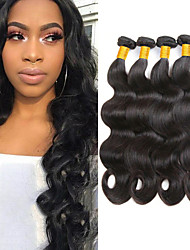 cheap -4 Bundles Brazilian Hair Body Wave 8A Human Hair Unprocessed Human Hair Natural Color Hair Weaves / Hair Bulk Extension Bundle Hair 8-28 inch Natural Color Human Hair Weaves Classic Easy dressing New
