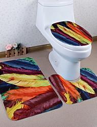 Недорогие -3 предмета Modern Коврики для ванны 100 г / м2 полиэфирный стреч-трикотаж Геометрический принт нерегулярный Ванная комната Креатив