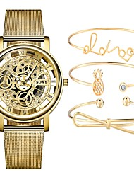 Недорогие -Для пары Часы со скелетом Наручные часы Кварцевый Подарочный набор Серебристый металл / Золотистый Секундомер С гравировкой Творчество Аналоговый На каждый день Мода - Золотой Серебристый / белый