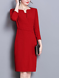 Недорогие -женский плюс размер хлопка оболочка платье выше коленного колье