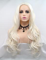 Недорогие -Синтетические кружевные передние парики Естественные кудри Стрижка каскад 130% Человека Плотность волос Искусственные волосы 26 дюймовый Женский Белый Парик Жен. Длинные Лента спереди Кремово-белые