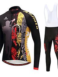 billiga Sport och friluftsliv-Miloto Cykeltröja med Haklapp-tights / Cykeljacka och byxa - Vit / Svart Cykel Håller värmen