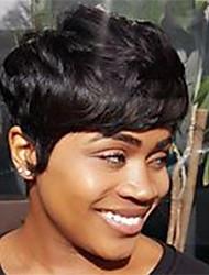 Недорогие -человеческие волосы Remy Лента спереди Парик Бразильские волосы Естественные кудри Естественные волны Парик Стрижка боб Стрижка каскад Боковая часть 130% Плотность волос / Природные волосы