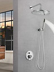 Недорогие -Смеситель для душа / Ванная раковина кран - Современный Хром На стену Медный клапан Bath Shower Mixer Taps / Латунь / Одной ручкой три отверстия