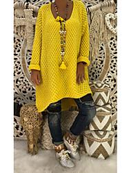 Недорогие -Жен. Повседневные Уличный стиль Крупногабаритные Однотонный Длинный рукав Обычный Пуловер, Круглый вырез Зеленый / Желтый / Хаки M / L / XL