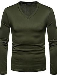 Недорогие -мужская хлопчатобумажная футболка - сплошной цветной шея