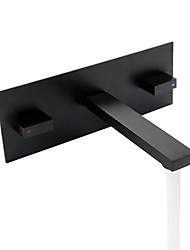 Недорогие -Ванная раковина кран - Широко распространенный / Новый дизайн черный На стену Две ручки одно отверстиеBath Taps