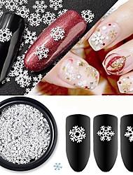 billige -1 pcs Pailletter Klassisk / Slankt design White Series Ferie Negle kunst Manicure Pedicure Jul / Daglig Basale / Natur