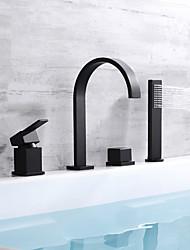 Недорогие -Смеситель для ванны - Современный Окрашенные отделки Настольная установка Медный клапан Bath Shower Mixer Taps / Одной ручкой четыре отверстия