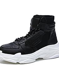 abordables -Homme Chaussures de confort Polyuréthane Hiver Sportif / Décontracté Basket Augmenter la hauteur Blanc / Noir