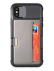 Недорогие -Кейс для Назначение Apple iPhone XS / iPhone XR / iPhone XS Max Бумажник для карт / со стендом Кейс на заднюю панель Однотонный Твердый силикагель