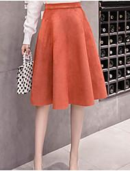 Недорогие -женский выход длиной до колена - юбки - сплошной цвет