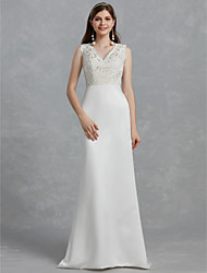 abordables -Fourreau / Colonne Col en V Traîne Brosse Dentelle / Satin Robes de mariée sur mesure avec par LAN TING BRIDE®