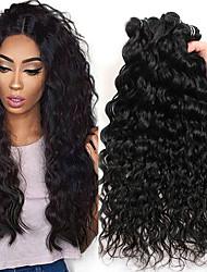 Недорогие -3 Связки Перуанские волосы Волнистые Натуральные волосы Необработанные натуральные волосы Wig Accessories Головные уборы Человека ткет Волосы 8-28 дюймовый Естественный цвет Ткет человеческих волос