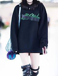 baratos -o hoodie longo da luva das mulheres que sai - letra encapuçado