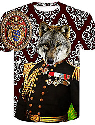 billige -Herre - Blomstret / Farveblok / Dyr Trykt mønster Gade / Punk & gotisk T-shirt Ulv